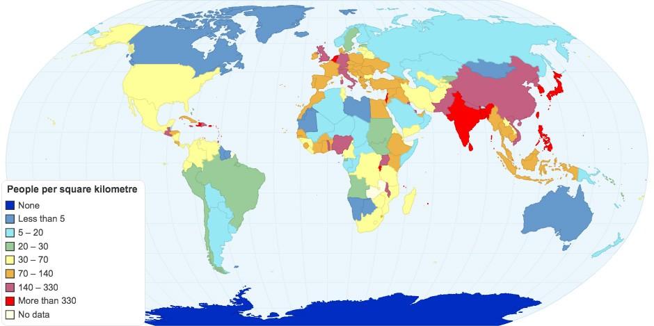 países menos densamente povoados do mundo mapeados