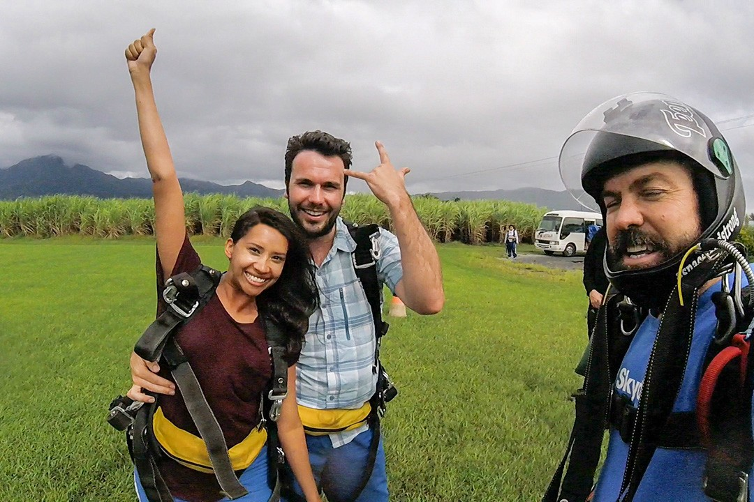 Post-flight celebration after skydiving n Cairns