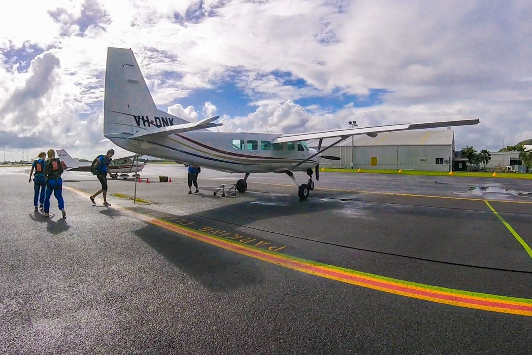 The plane while skydiving in Cairns