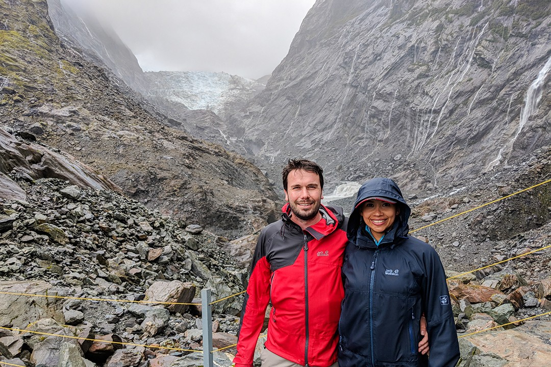 Smiling through the pain at Franz Josef Glacier