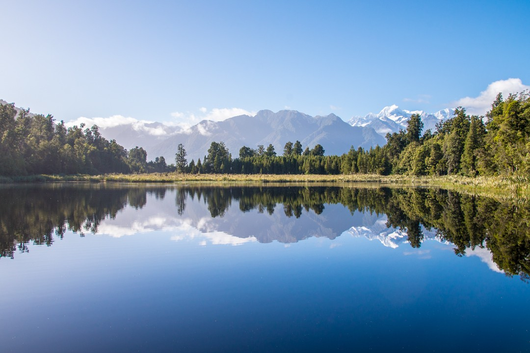 South Island short walks new zealand Lake Matheson