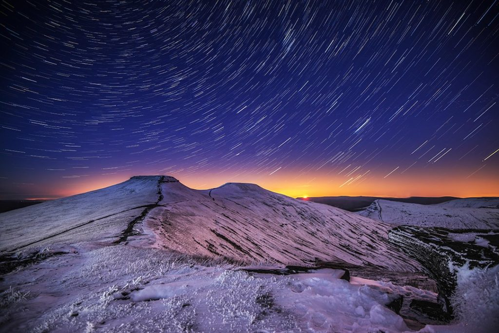 Star trails in Brecon Beacons National Park which is a dark sky reserve