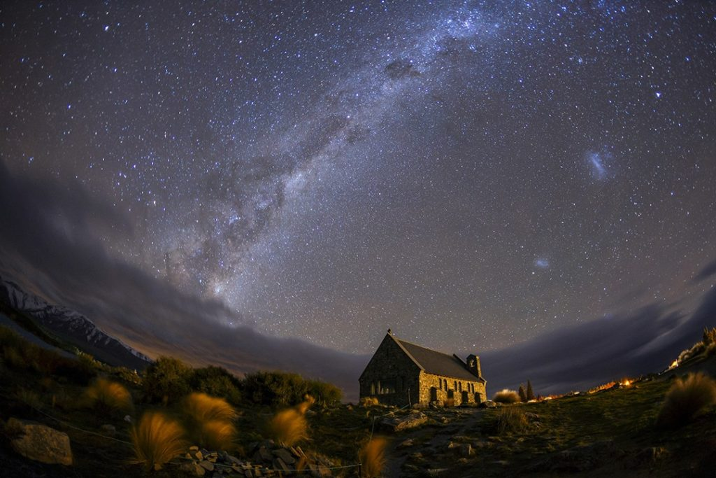 dark sky reserves Church of the Good Shepherd in the Aoraki Mackenzie Dark Sky Reserve