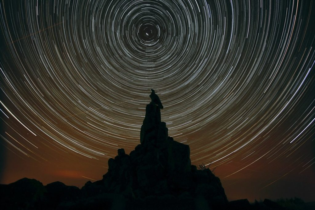 Star trails over the Wasserkuppe at Rhön, dark sky reserves