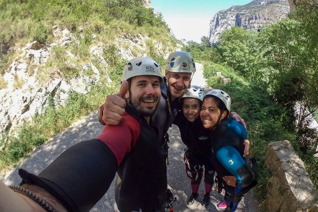 All smiles after emerging from Hell's Canyon in Catalonia
