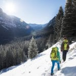 Hikers in backpacks in the snow