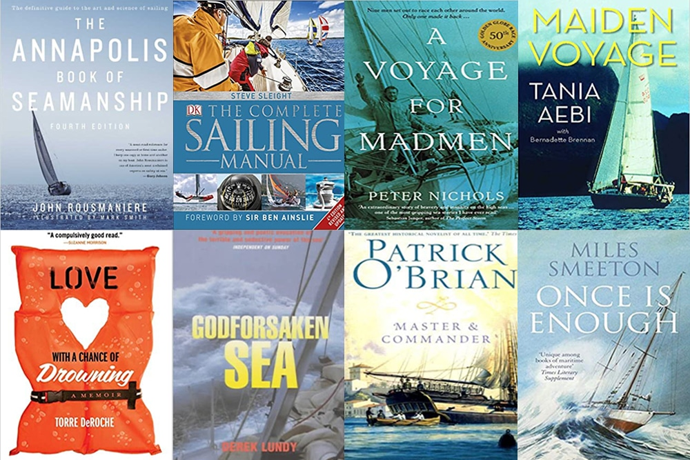 another montage of eight sailing books