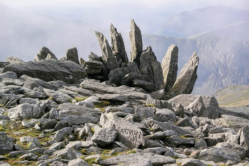 Striking rock formation at Glyder Fawr natural wonders in the uk