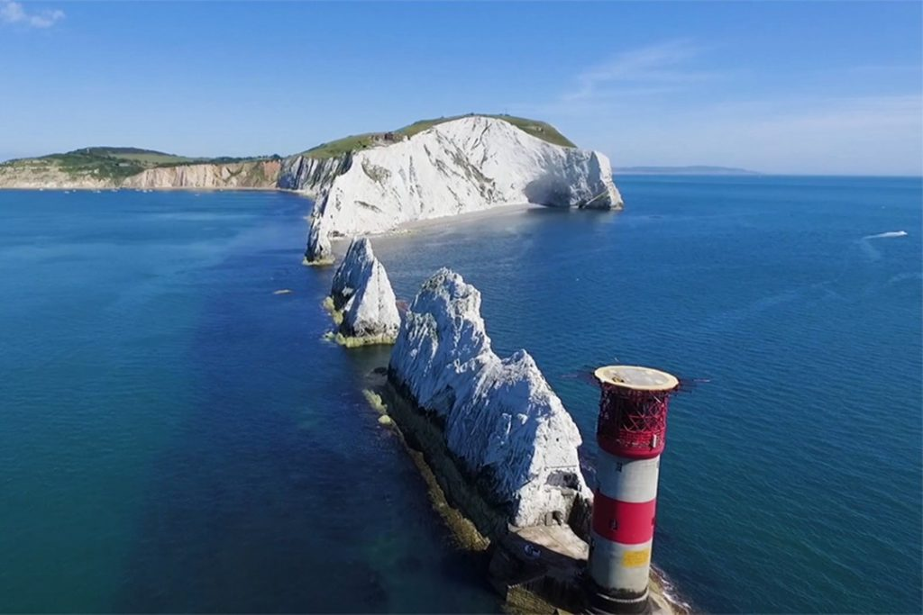 The chalk stacks of the Needles natural wonders in the uk