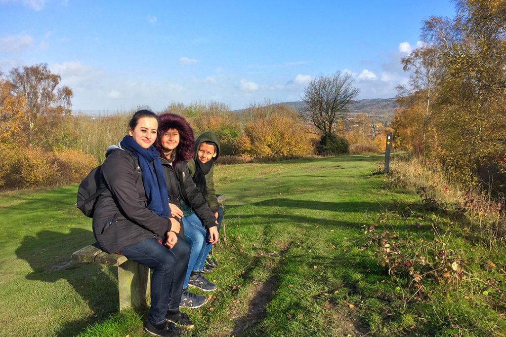 Forida with her children in the Chiltern Hills