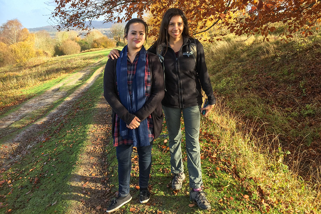 Forida and Kia on a hike in the Chiltern Hills travelling with hearing loss