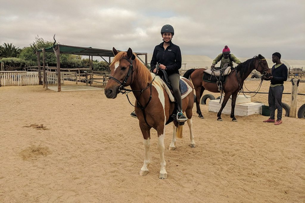 Ready to ride while horse riding in Swakopmund