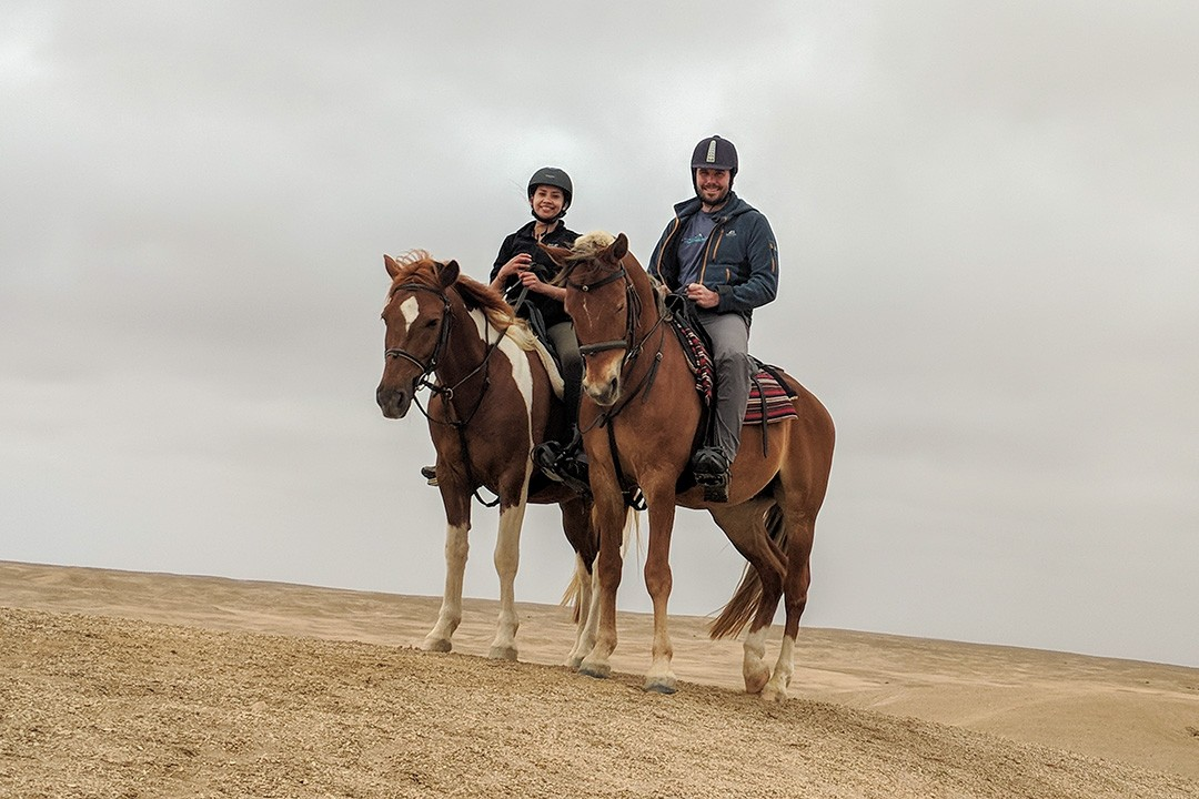 Horse riding in Swakopmund during our self-drive safari through Namibia