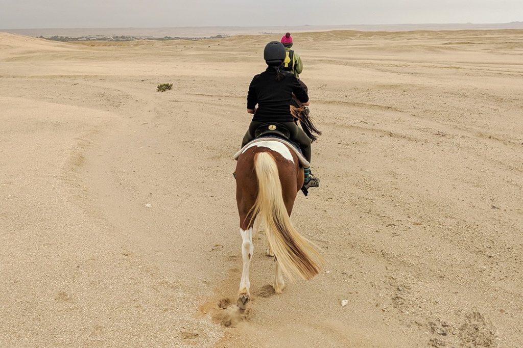 Horse riding in Swakopmund is like riding on the moon