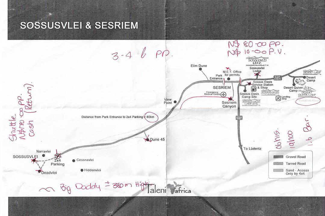 Sossusvlei map namibia