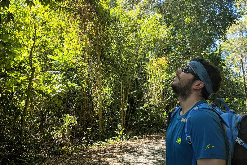 Peter on the lookout for sloths in Manuel Antonio National Park