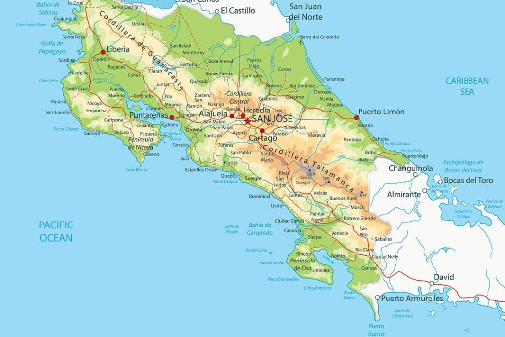 interesting facts about costa rica map