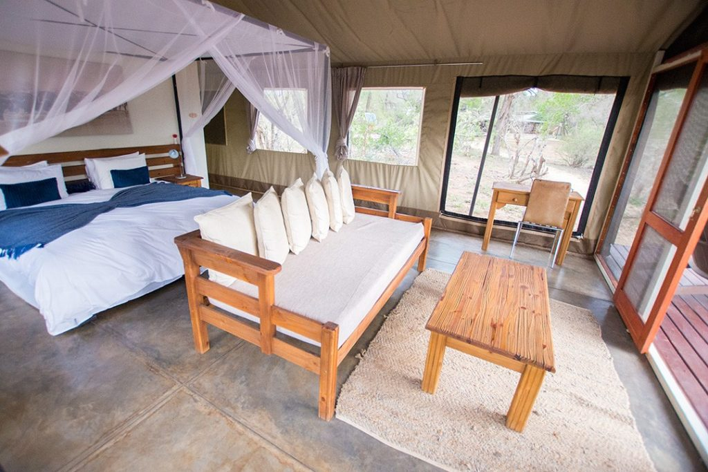 Interior of a tent at Manyeleti Game Reserve