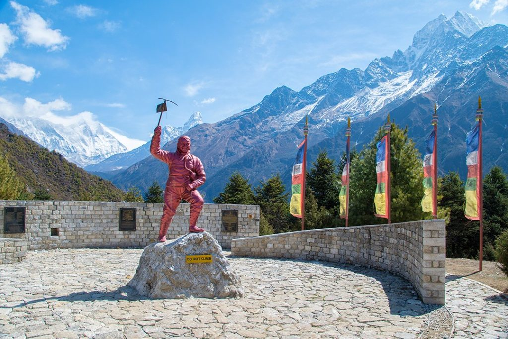 The Tenzing Norgay Memorial on the  Everest base camp trek