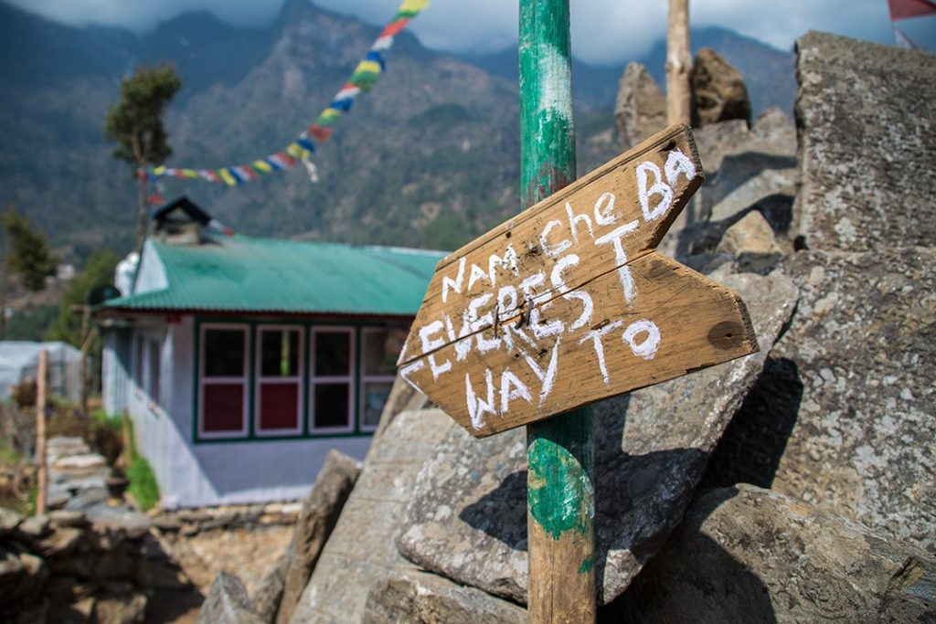 Everest base camp trek sign to Namche