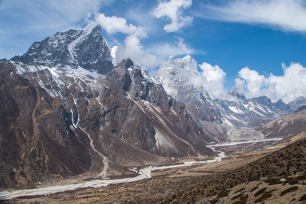 The Imja Khola valley seen above Dingboche during our Everest base camp trek