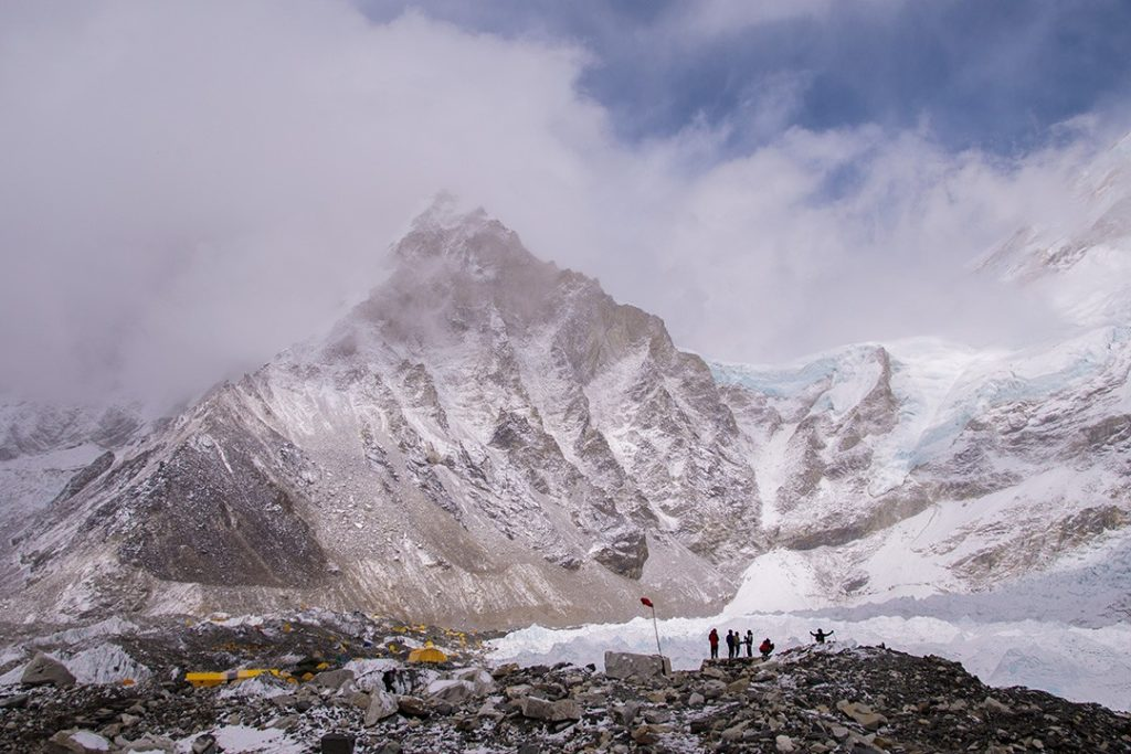 It was snowing at base camp when we arrived