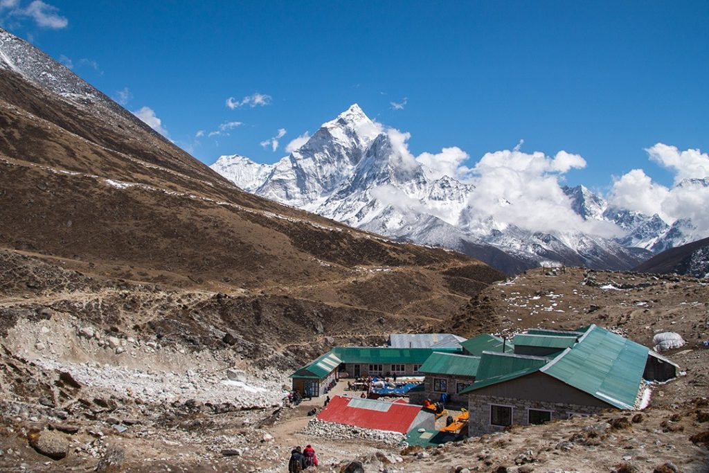 Approaching a teahouse near Lobuche along the Everest base camp trek