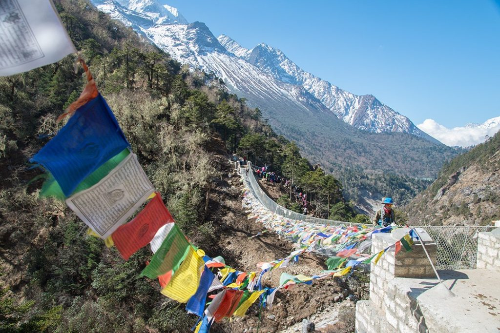 A suspension bridge along the Everest base camp trek