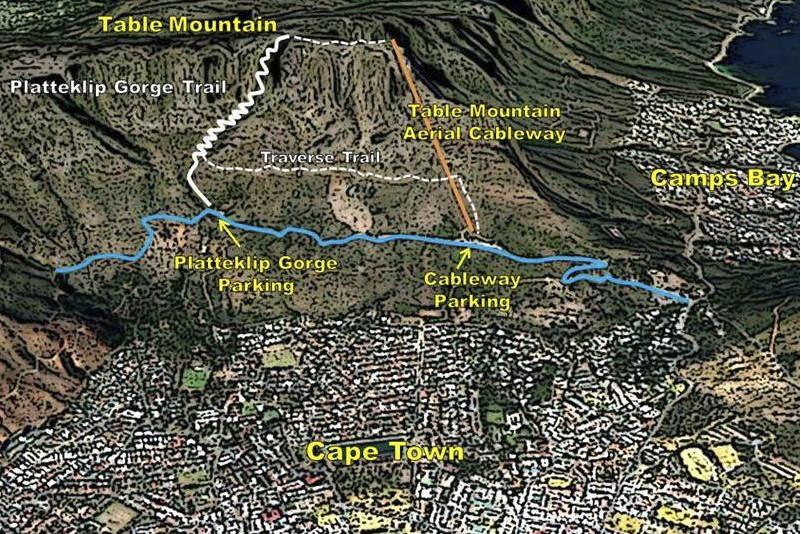 hiking-table-mountain-map-1 ▷ Senderismo Table Mountain: 10 consejos para llegar a la cima