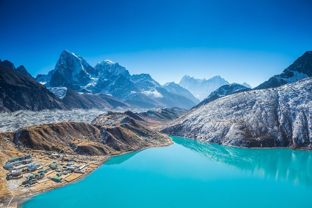 The turquoise lakes of the Gokyo Valley