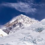 The summit of Mount Everest seen from base camp