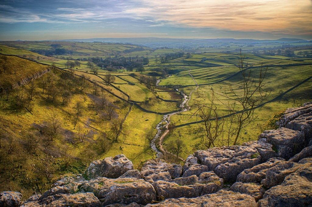 best national parks in britain The view across the limestone pavement from the top of Malham Cove