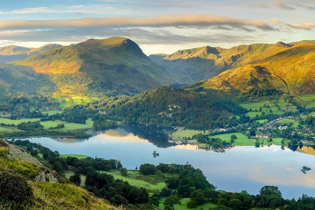 Dawn light over Ullswater and the Helvellyn range is a great outdoor destination in Britain