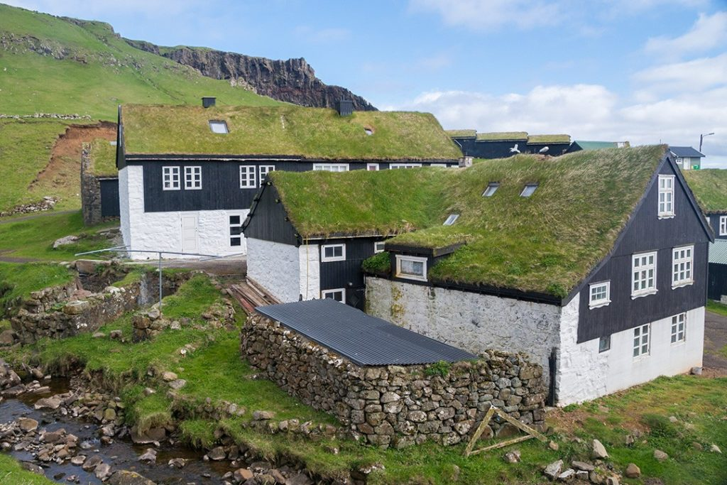 turf roof in mykines, faroe islands