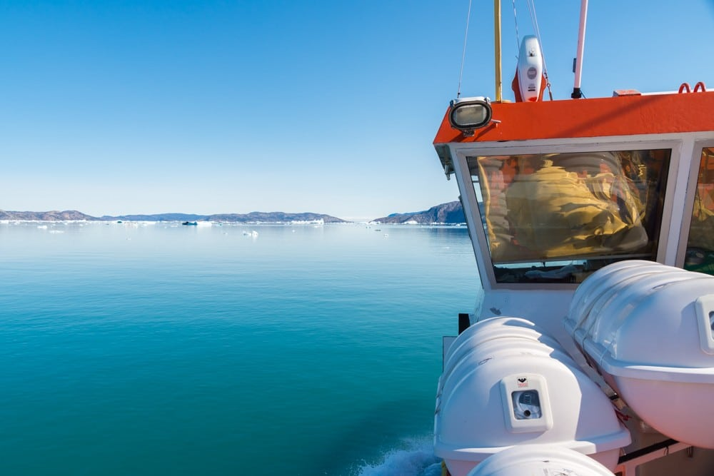 on board the eqi glacier boat tour