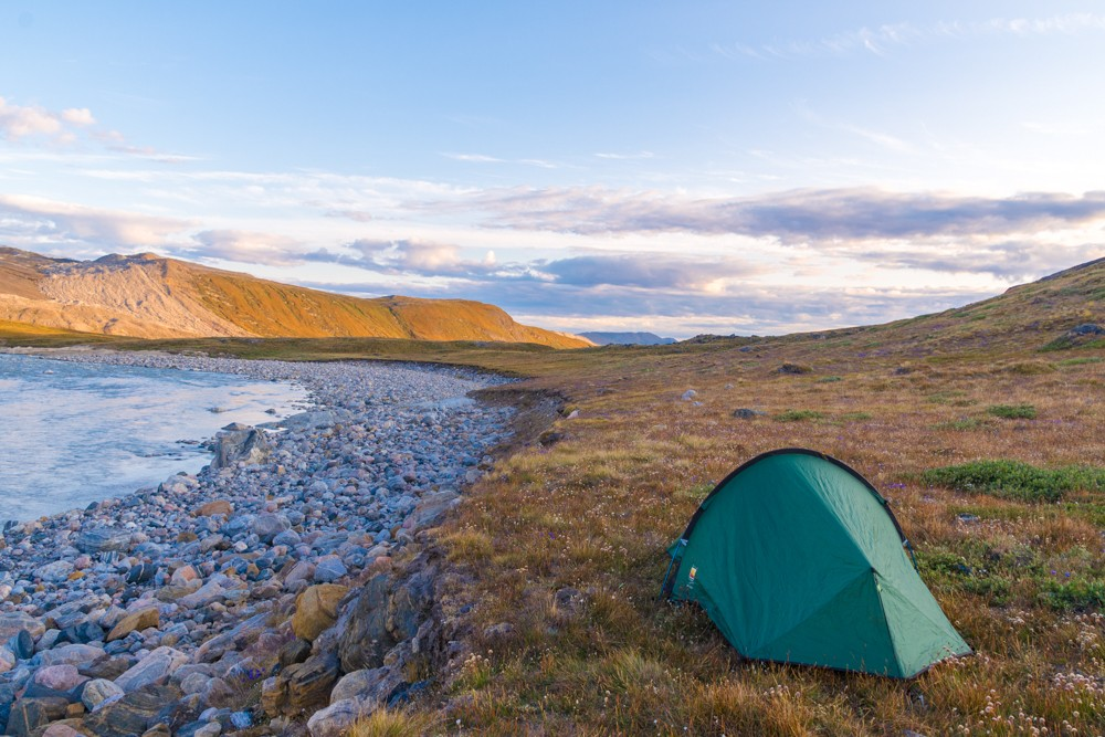 camping while while visiting the Greenland ice sheet and Russell Glacier