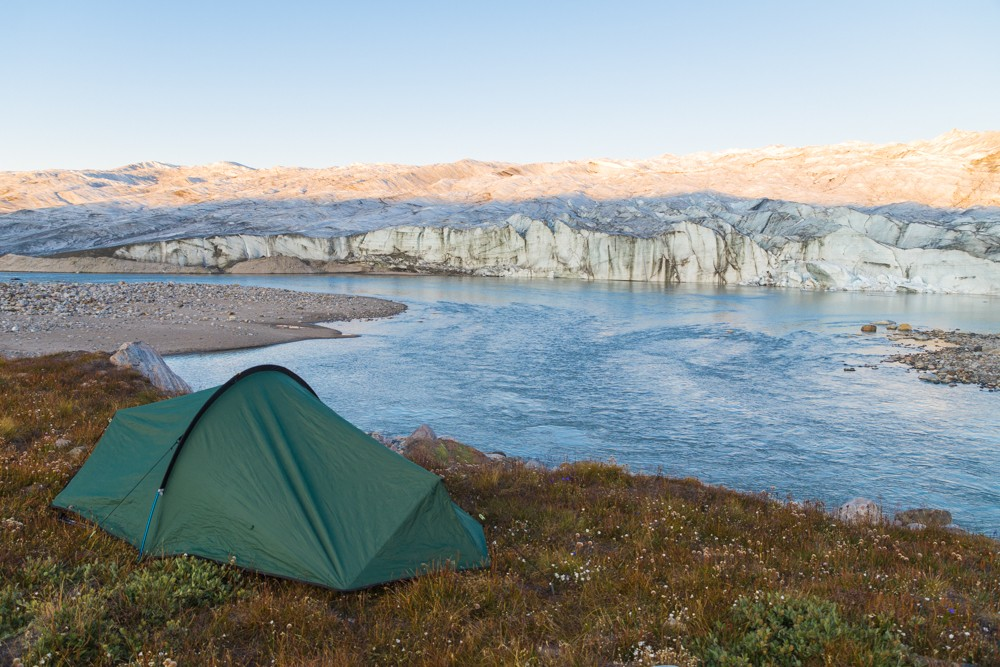 One of the best campsites in the world while visiting the Greenland ice sheet and Russell Glacier