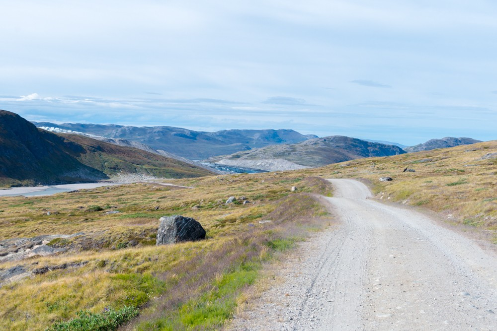 The road back to Kangerlussuaq after visiting the Greenland ice sheet and Russell Glacier