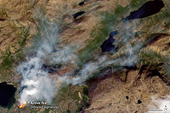 A satellite image of the fire I encountered