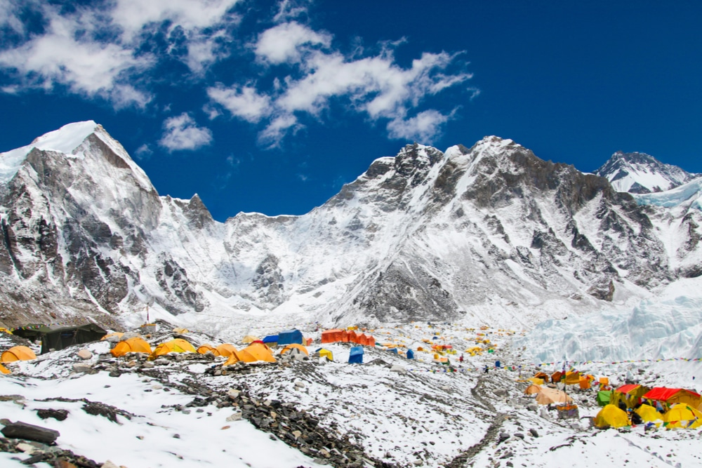 Mount Everest and yellow tents   best mountaineering books