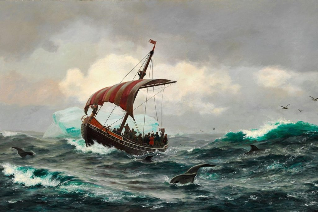 Eric the Red depicted on board a Viking ship near Greenland