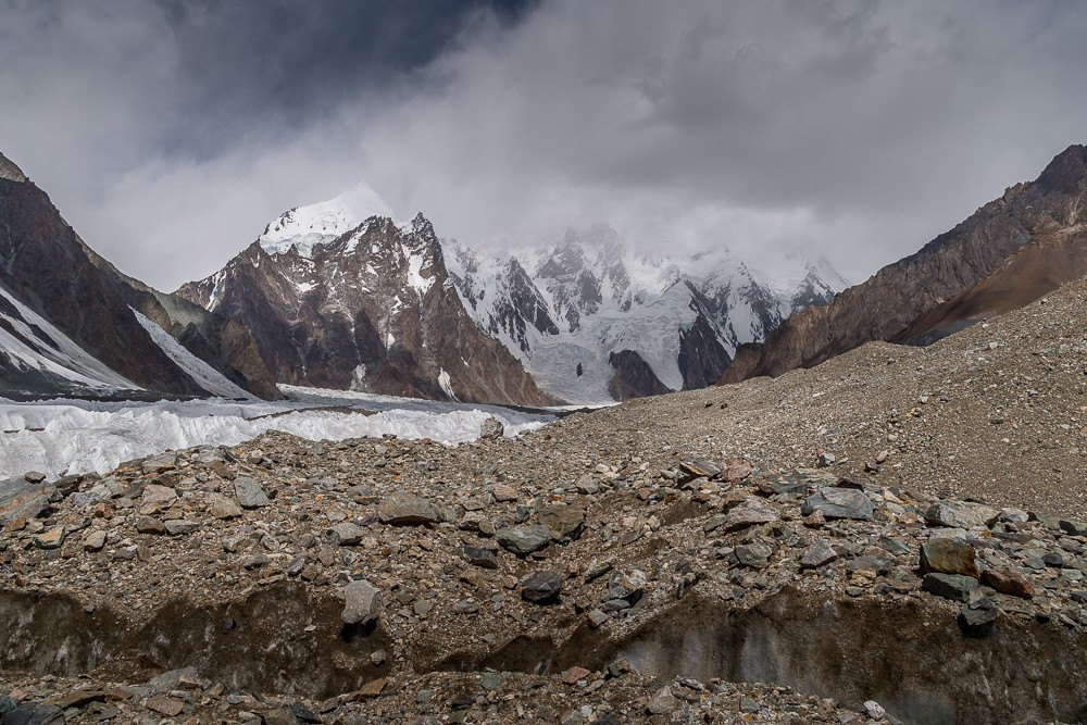 K2 shrouded in cloud K2 base camp trek
