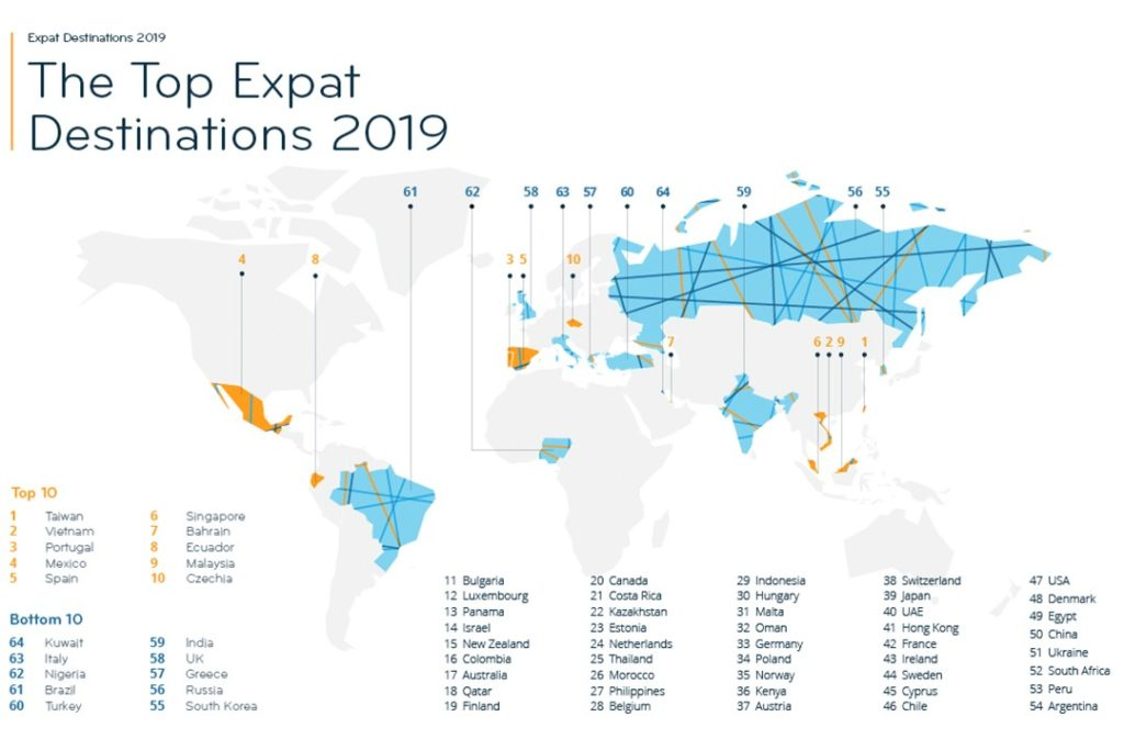 best countries for expats 2019 map