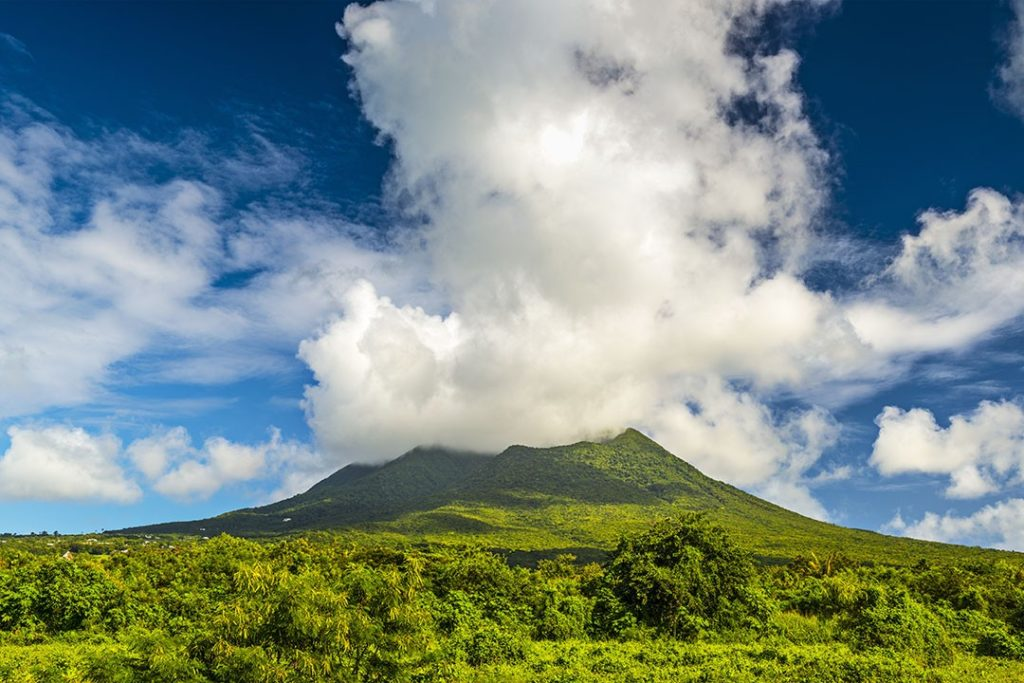 mispronounced country names: Nevis Peak on Nevis Island