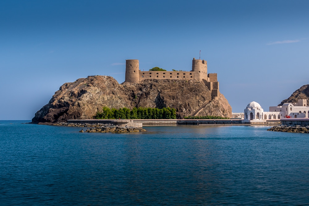 Al Jalai Fort at the entrance of the harbour - one of the many interesting facts about Oman