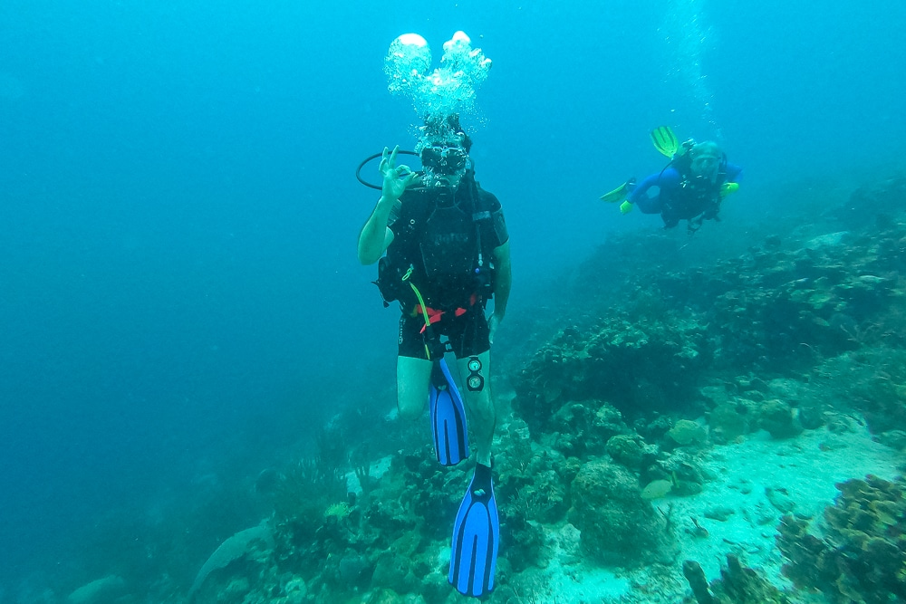 Peter while diving the Sonesta plane wrecks in Aruba