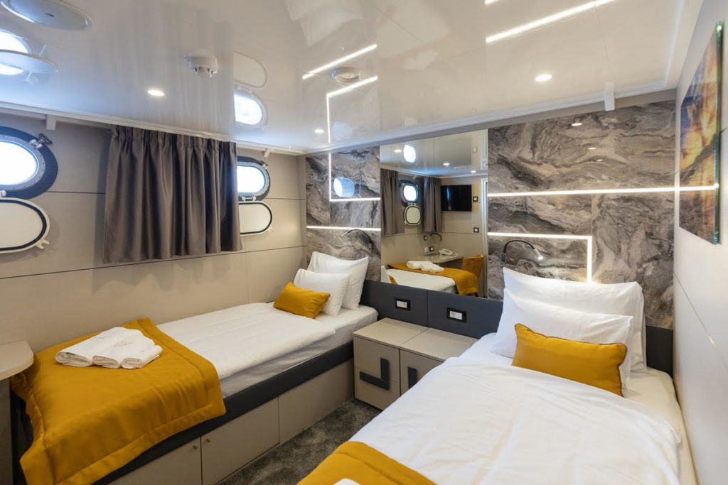 two beds on a small ship cruise in croatia