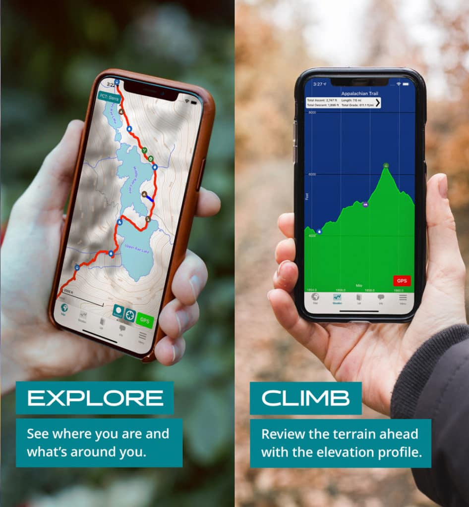 screenshots of guthook guides, one of the best hiking apps for thru-hikers