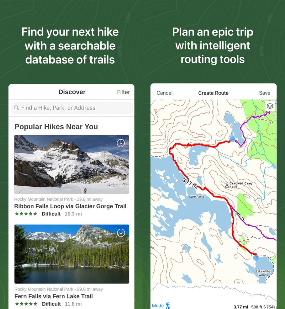screenshots of gaia, one of the best hiking apps