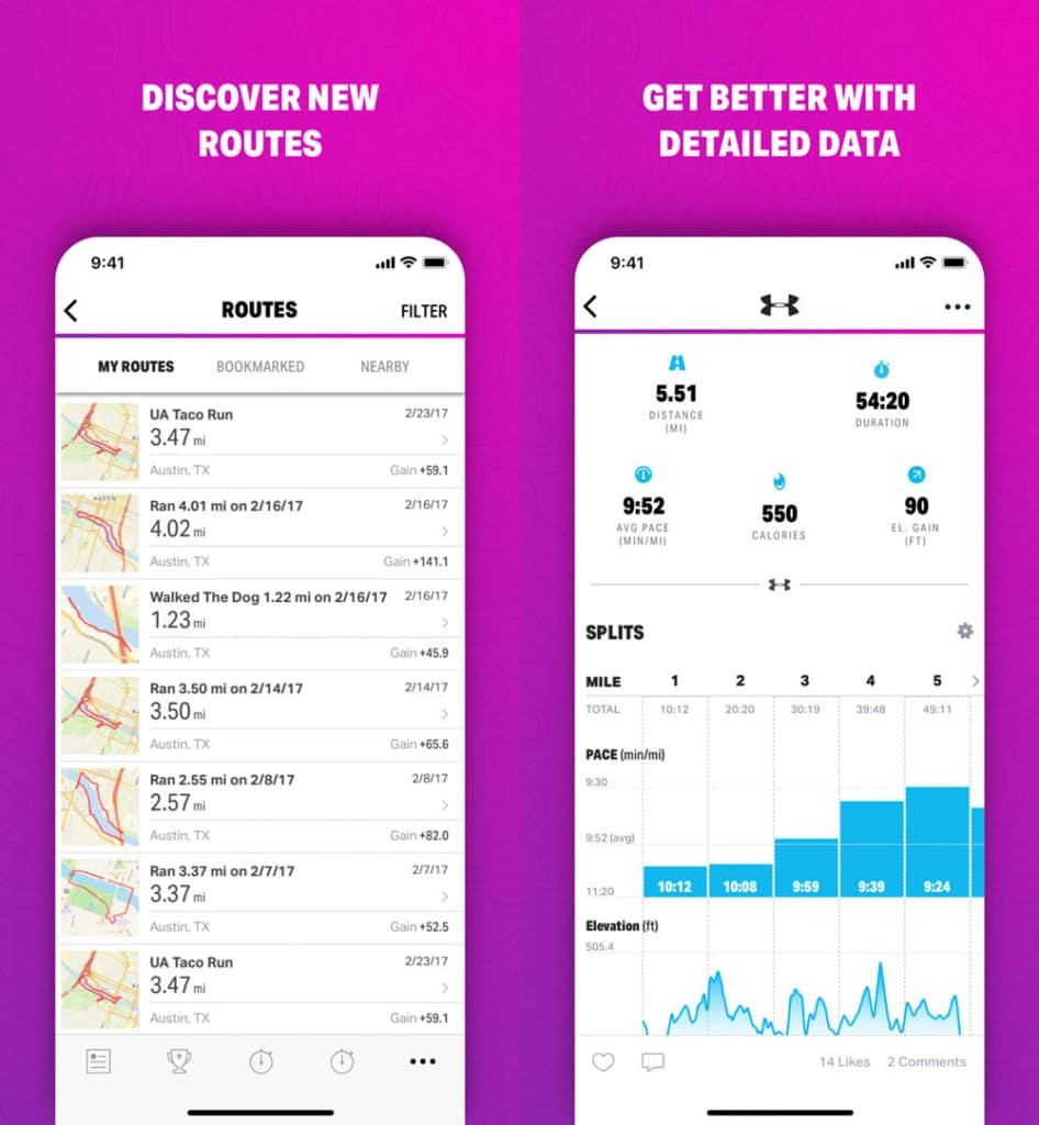 screenshots of mapmywalk hiking app